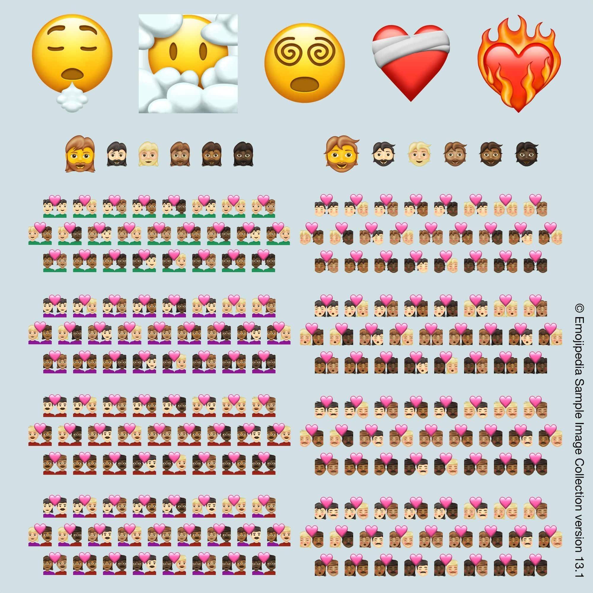 Illustrasjon av emojiene som kommer i 2021, er bildet lånt fra Emojipedia.org (© Emojipedia).